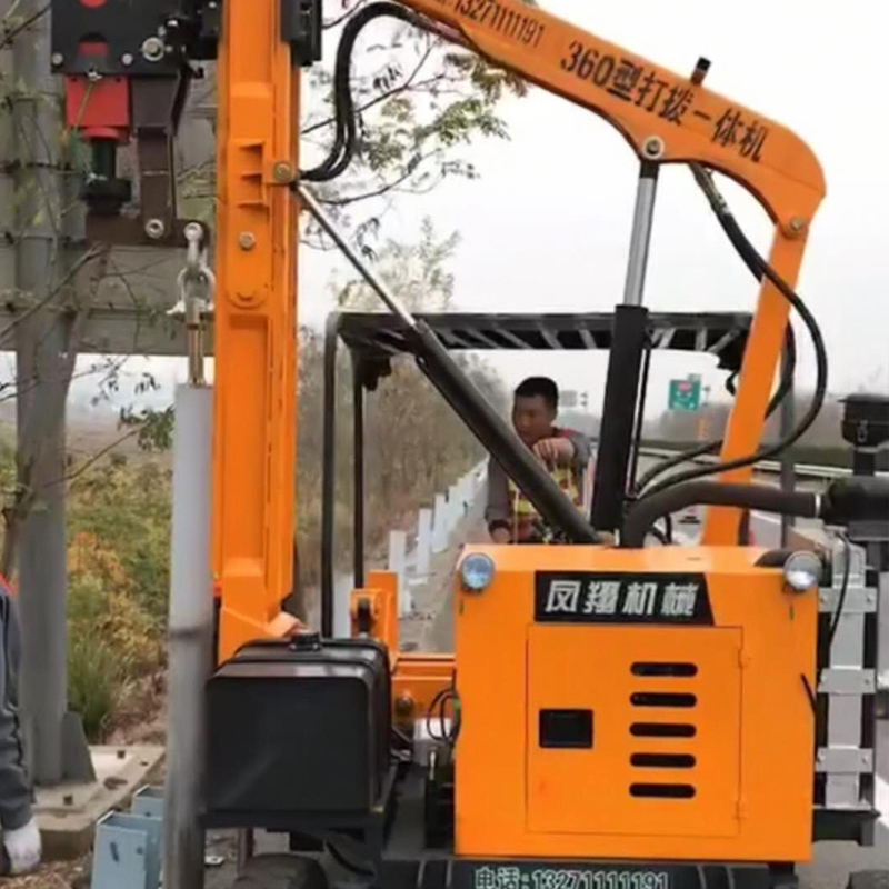 高速护栏打桩机施工